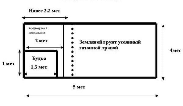 Чертеж вольера для кавказской овчарки с размерами 4*5 метров